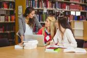 Happy three students working together — Stock Photo