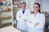 Pharmacist and his trainee — Stock Photo