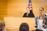 Serious lawyer make a closing statement — Stock Photo