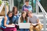 Students sitting on steps studying — Stock Photo