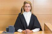Stern judge looking at camera — Stock Photo