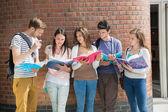 Счастливый студентов стоя и чтения — Стоковое фото