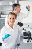 Team of scientists at work — Stock Photo