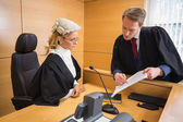 Lawyer speaking with the judge — Stock Photo