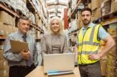Warehouse team working together — Stok fotoğraf