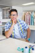 Fashion student with glasses posing — Stock Photo