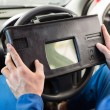 Mechanic using diagnostic tool in the car — Stock Photo #65552761