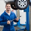 Mechanic smiling holding tool — Stock Photo #65553605