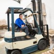 Driver operating forklift machine — Stock Photo #65558663