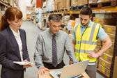 Warehouse team working together — Stock Photo