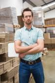 Warehouse manager with arms crossed — Stock Photo