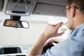 Careless man driving while drunk — Stock Photo