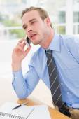 Attentively businessman speaking on phone — Stock Photo