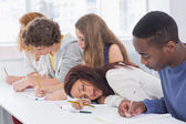 Student dozing during a class — Stock Photo