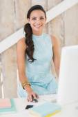 Stylish brunette working from home — Stock Photo