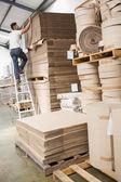 Trabalhador de armazém a carregar palete — Fotografia Stock
