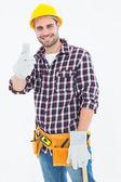 Happy male repairman gesturing thumbs up — Stock Photo