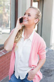 Pretty blonde making a call — Fotografia Stock