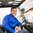 Driver operating forklift machine — Stock Photo #65565757