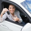 Pretty woman giving thumbs up while holding key — Stock Photo #65566231