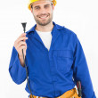 Smiling repairman holding electric plug — Stock Photo #65566641