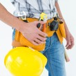 Technician with tool belt and hard hat — Stock Photo #65567771