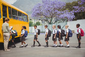 Cute schoolchildren waiting to get on school bus — Fotografia Stock