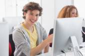 Students working in computer room — Stock Photo