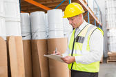 Warehouse manager checking his list — Stock Photo