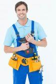 Carpenter holding drill machine — Stock Photo