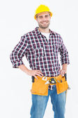 Handyman standing hands on hips — Stock Photo