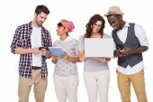 Coworkers with technology interacting together — Stock Photo