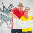 Lost tourist couple using map — Stock Photo #68908517