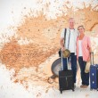 Couple going on their holidays against world map — Stock Photo #68908609