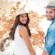 Hipster couple holding hands against world map — Stock Photo #68909589
