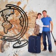 Couple going on holiday against world map — Stock Photo #68909955