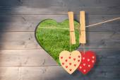 Hearts hanging on the line — Stock Photo
