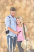 Attractive young couple ready to go — Stock Photo