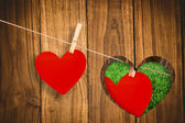 Heart hanging on a line — Stock Photo