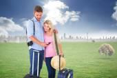 Couple ready to go on vacation — Stock Photo