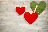 Hearts hanging on a line — Stock Photo