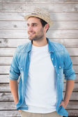 Handsome hipster wearing a trilby — Stock Photo