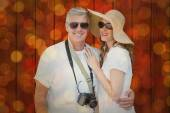 Vacationing couple against close up — Stock Photo