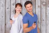Couple both making phone calls — Stock Photo