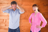 Woman arguing with ignoring man — Stock Photo