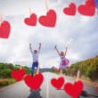 Couple jumping on the road — Stock Photo #68910595