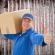 Delivery man holding cardboard box — Stock Photo #68911293