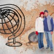 Couple in warm clothing against world map — Stock Photo #68911413