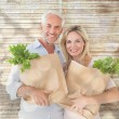 Couple carrying paper grocery bags — Stock Photo #68911707