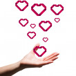 Hand showing hearts — Stock Photo #68911939